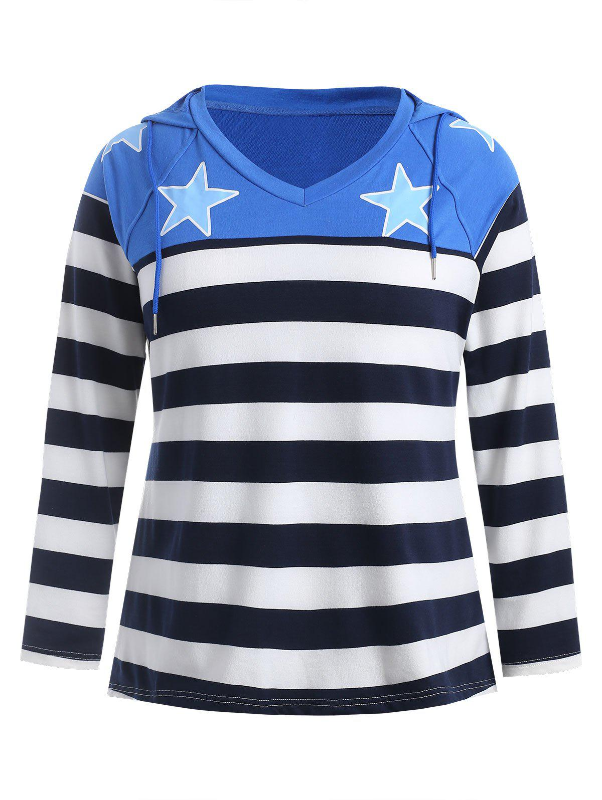 Plus Size Striped Panel Star Print Hoodie
