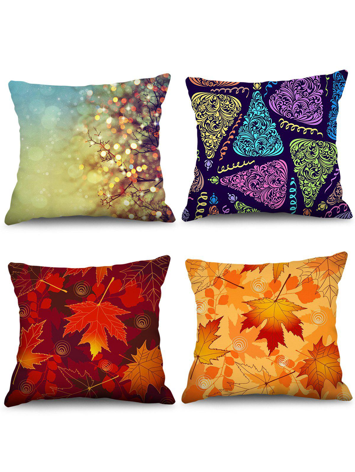 4PCS Maple Leaf Printed Theme Pillowcases - multicolor W18 X L18 INCH