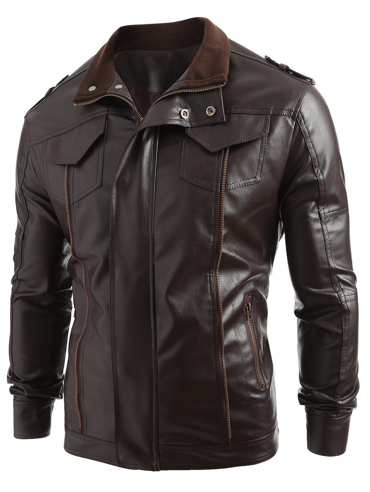 Solid Color Zip Fly PU Jacket - COFFEE XS