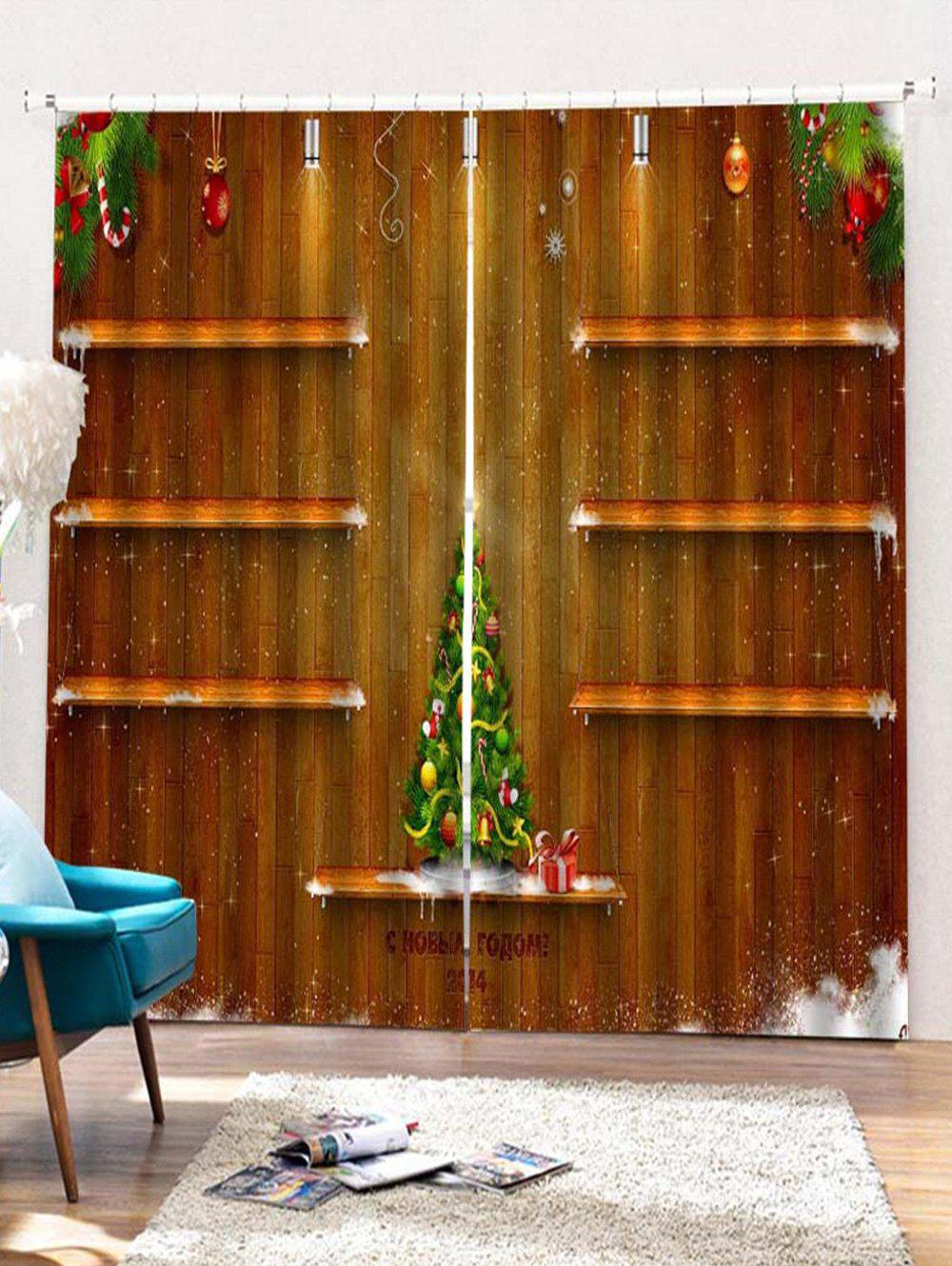 2PCS Christmas Tree Wooden Printed Window Curtains - WOOD W28 X L39 INCH X 2PCS