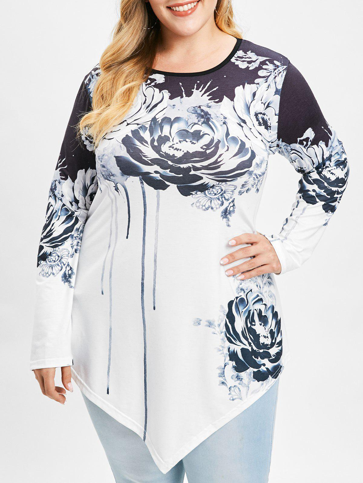 Plus Size Asymmetrical T-shirt with Ink Painting - WHITE L