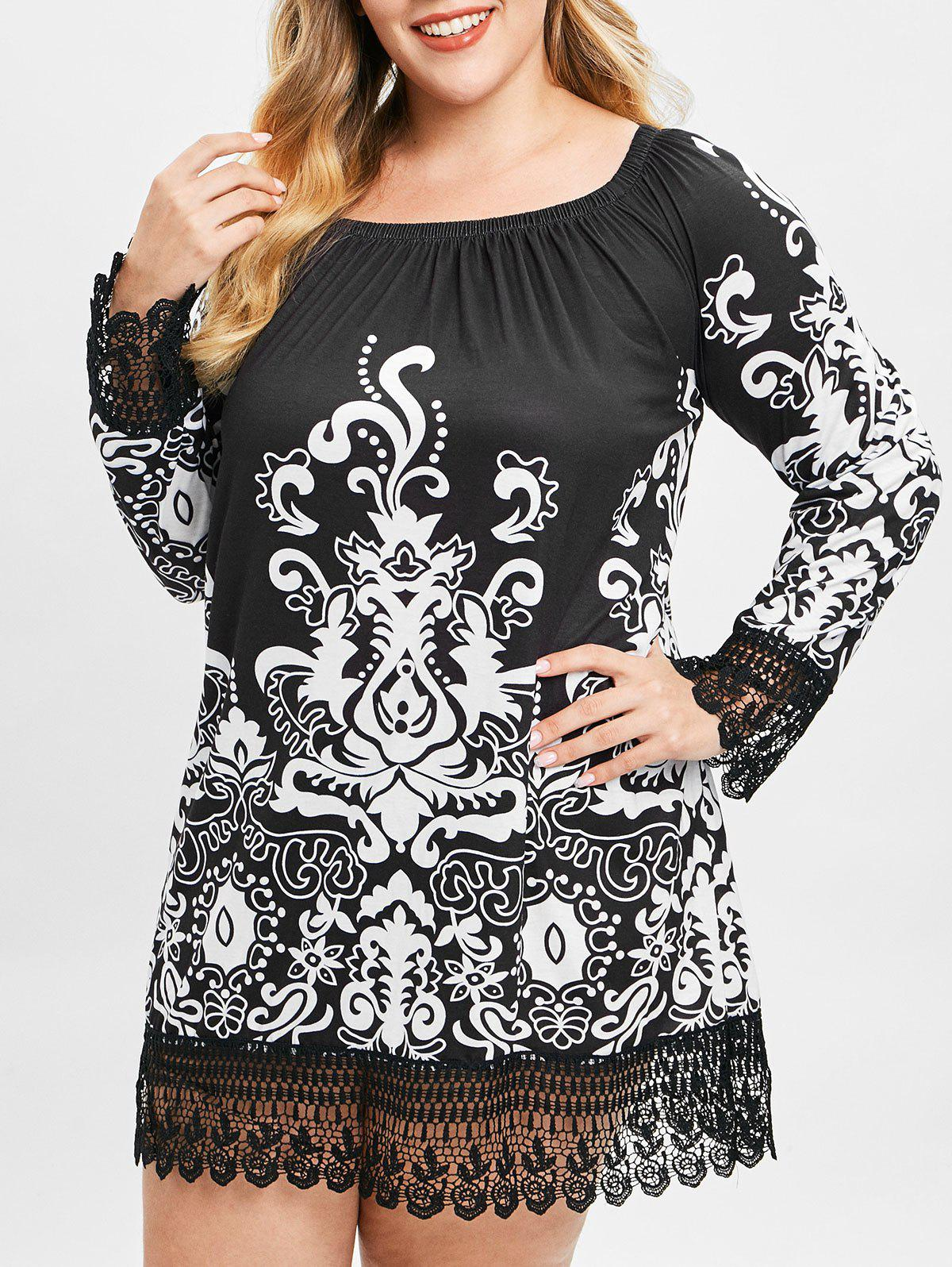 Plus Size Tribal Print Lace Trim Dress