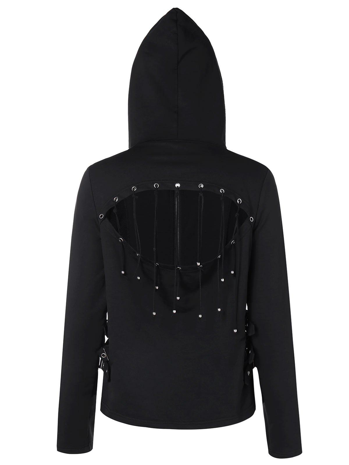 Cut Out Back Zipper Hoodie - BLACK XL