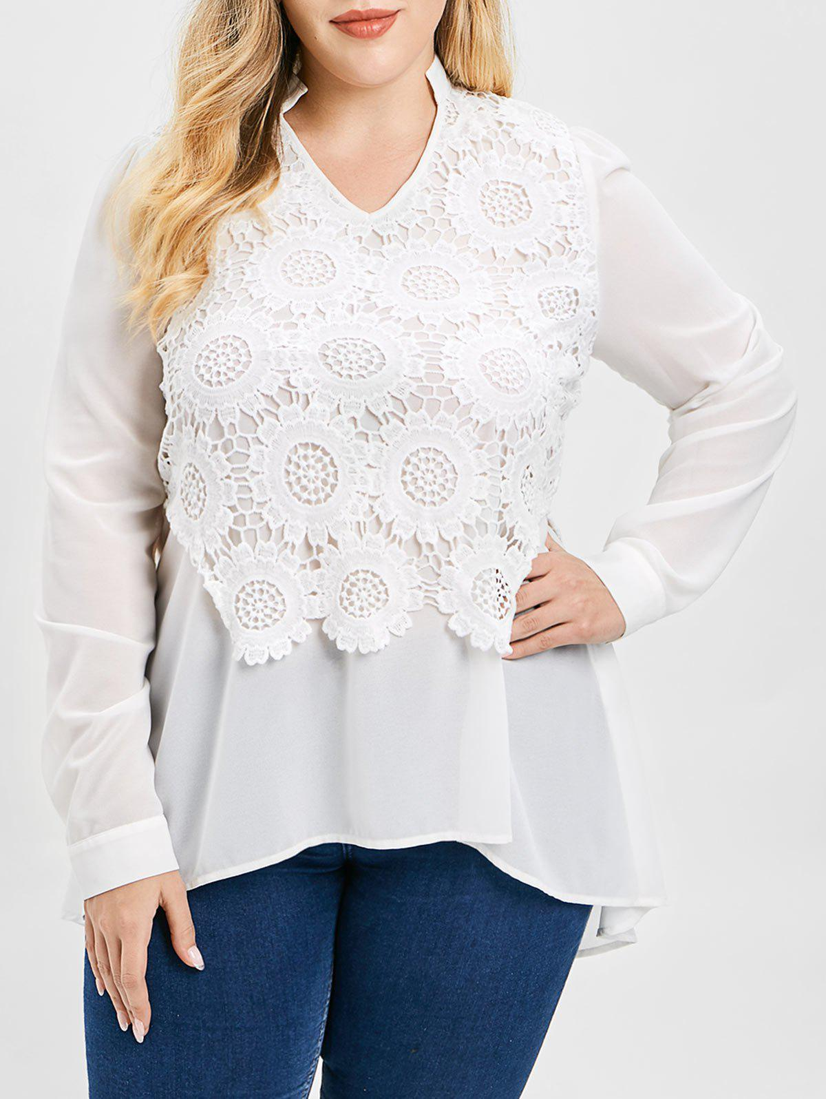 Plus Size V Neck Lace Splicing Asymmetric Long Blouse - WHITE L