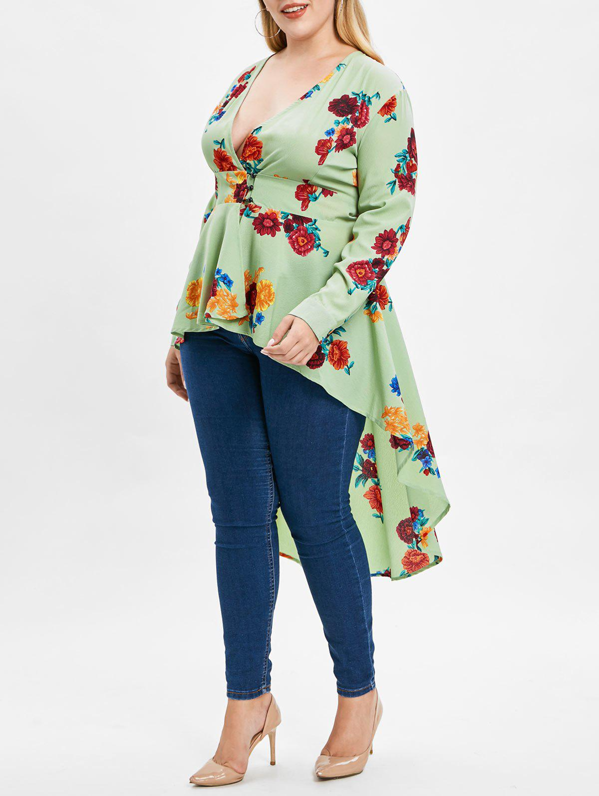 Plus Size High Low Floral Print Maxi Blouse - HAZEL GREEN L