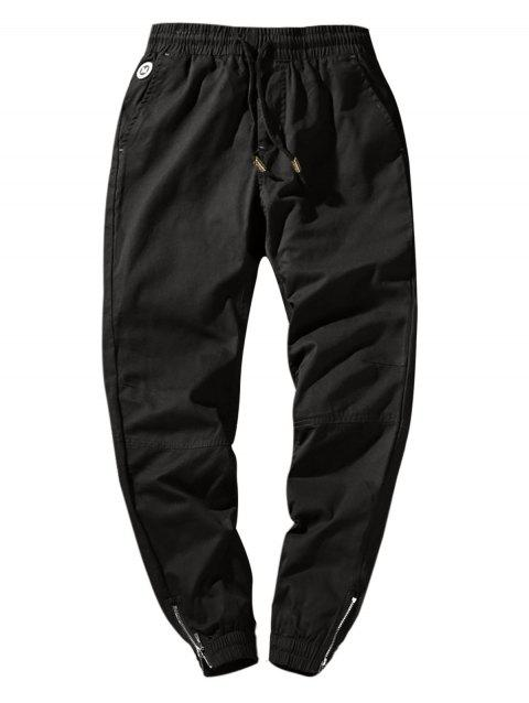 Elastic Waist Solid Color Zip Hem Jogger Pants - BLACK XS