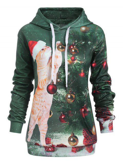 Plus Size Pocket Christmas Hoodie - multicolor 2X