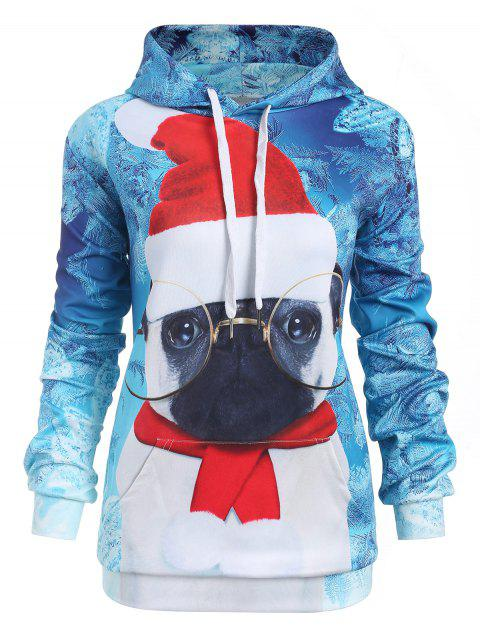 Plus Size Christmas Graphic Hoodie - CORAL BLUE 1X