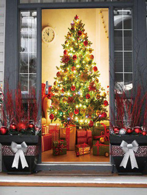 Christmas Tree Gifts Print Door Stickers - multicolor 2PCS X 15 X 79 INCH