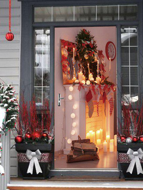 Christmas Fireplace Candle Print Door Stickers - multicolor 2PCS X 15 X 79 INCH