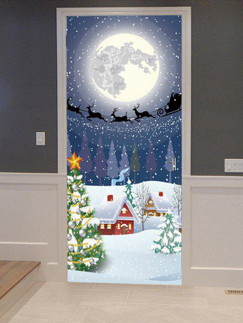 Christmas Moon Night Print Door Art Stickers - multicolor 2PCS X 15 X 79 INCH