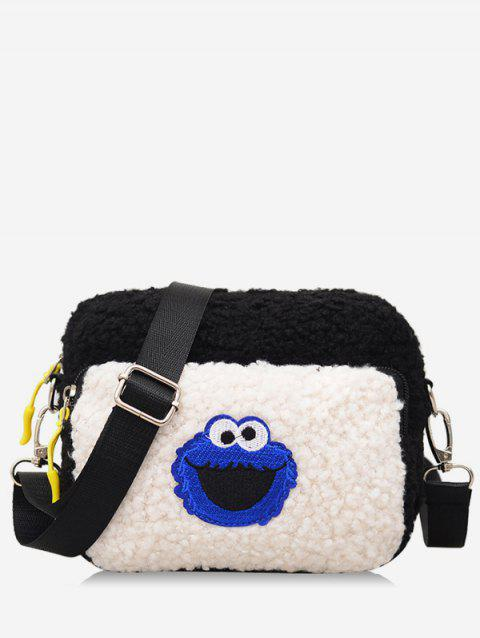 80228a4e5455 2019 Cartoon Pattern Fluffy Leather Crossbody Bag In WHITE ...