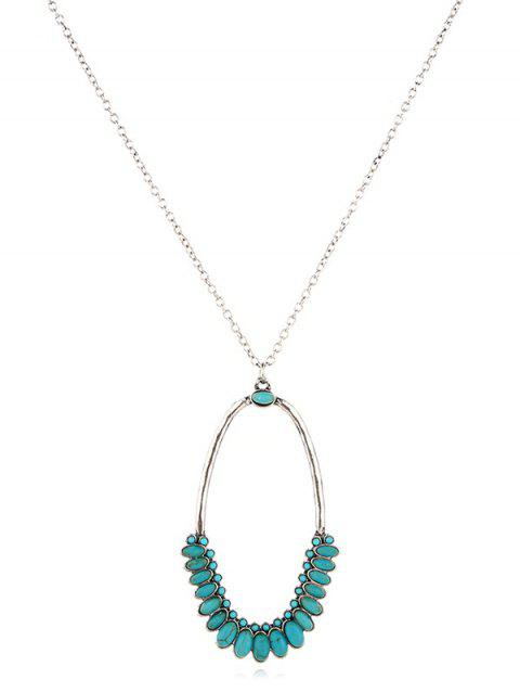 Turquoise Hollow Geometric Sweater Chain - SILVER