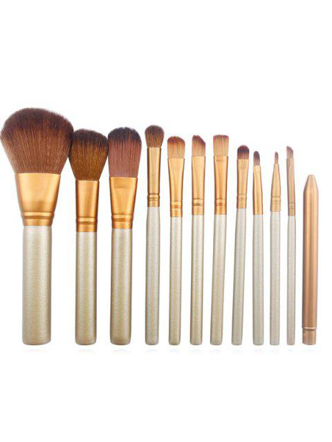 12 Pcs Synthetic Fiber Hair Tin Box Makeup Brush Set - CHAMPAGNE GOLD
