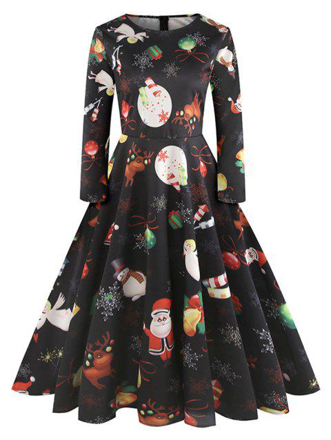 Christmas Printed Fit and Flare Dress - multicolor XL