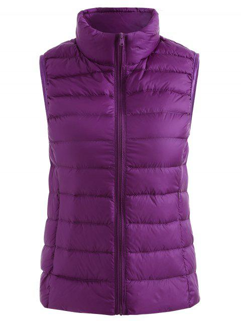 Stand Collar Zip Up Quilted Padded Waistcoat - DARK ORCHID M