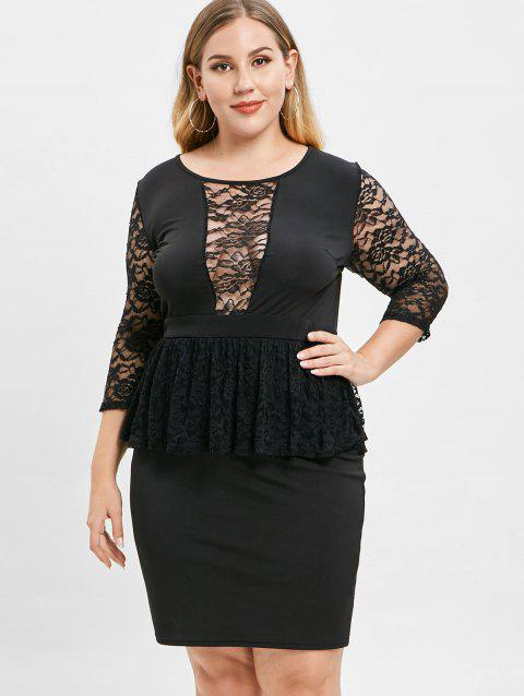 Plus Size Lace Patchwork Peplum Dress