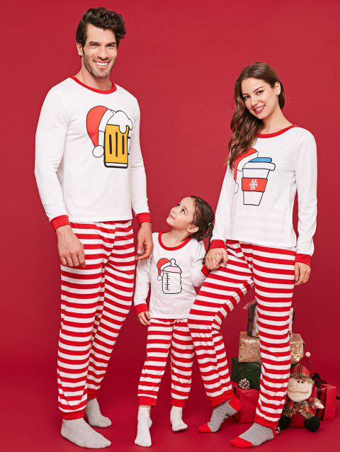 Christmas Bottles Print Matching Family Pajamas - RED KID  110