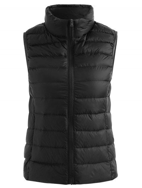 Stand Collar Zip Up Quilted Padded Waistcoat - BLACK M