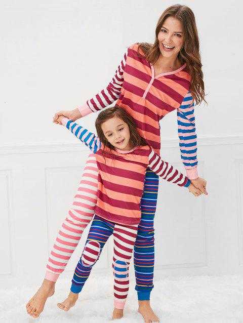 Christmas Contrast Striped Print Pajama Set for Mom Kids - multicolor MOM XL