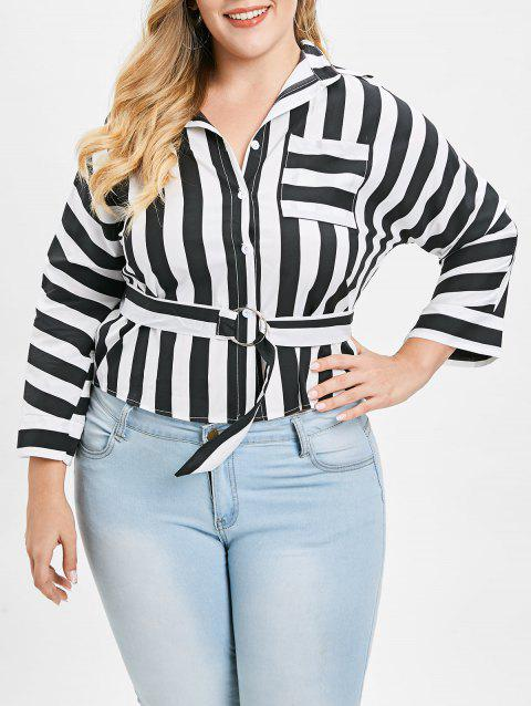 Plus Size Batwing Sleeve Striped Shirt - multicolor 3X