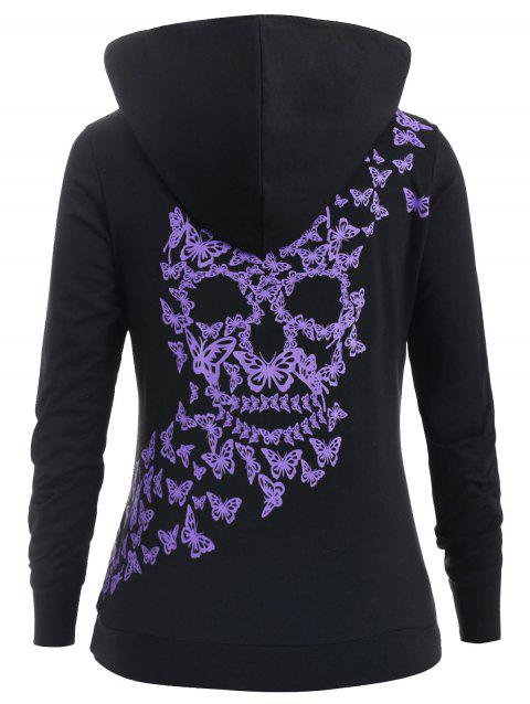 Plus Size Butterfly Front Pockets Contrast Hoodie - BLACK 1X