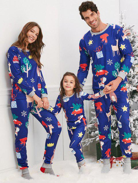 Christmas Cartoon Animal Print Pajama Sets for Family - BLUE MOM S