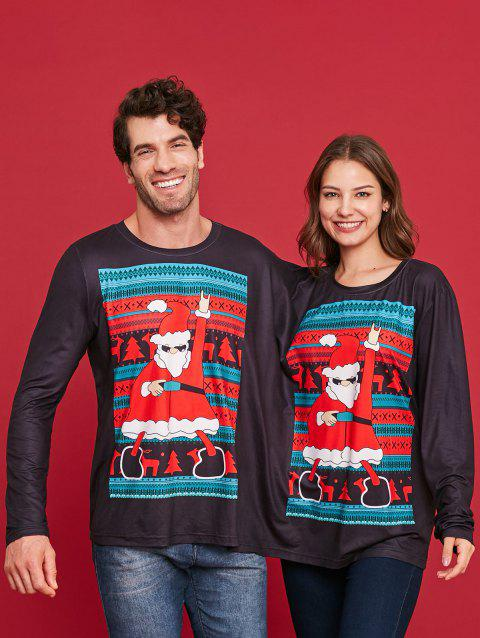 Two Person Christmas Santa Long Sleeve T-shirt - BLACK XL