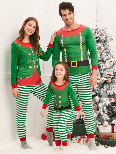 Elves Matching Family Christmas Pajamas - CLOVER GREEN DAD L
