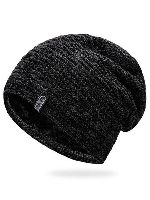 Letter Label Thicken Ski Cap - BLACK