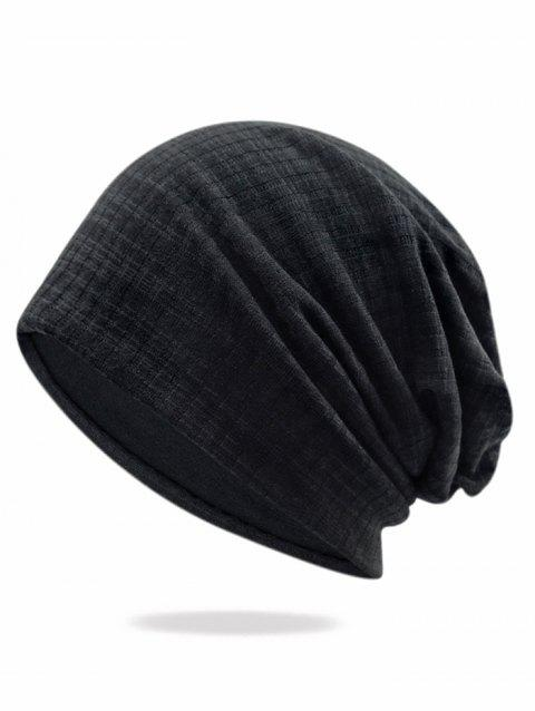 Solid Color Stripe Baggy Beanie - BLACK