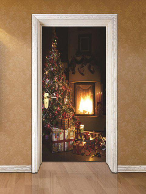 Christmas Tree Fireplace Print Door Stickers - multicolor 2PCS X 15 X 79 INCH