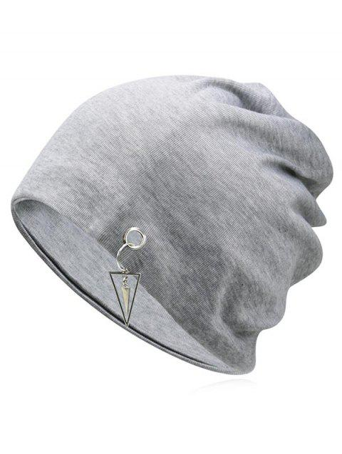 Metal Triangle Hollow Out Slouchy Beanie - LIGHT GRAY