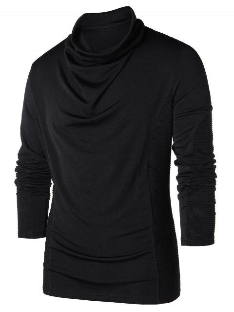 Heap Pile Collar Long Sleeve T-shirt - BLACK 2XL