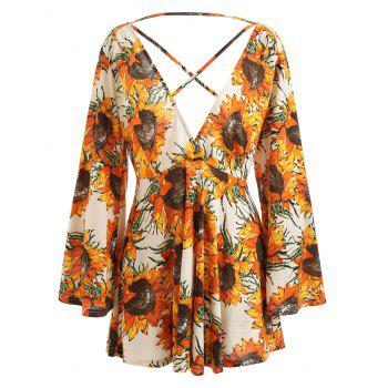 Sunflower Print Low Cut Dress