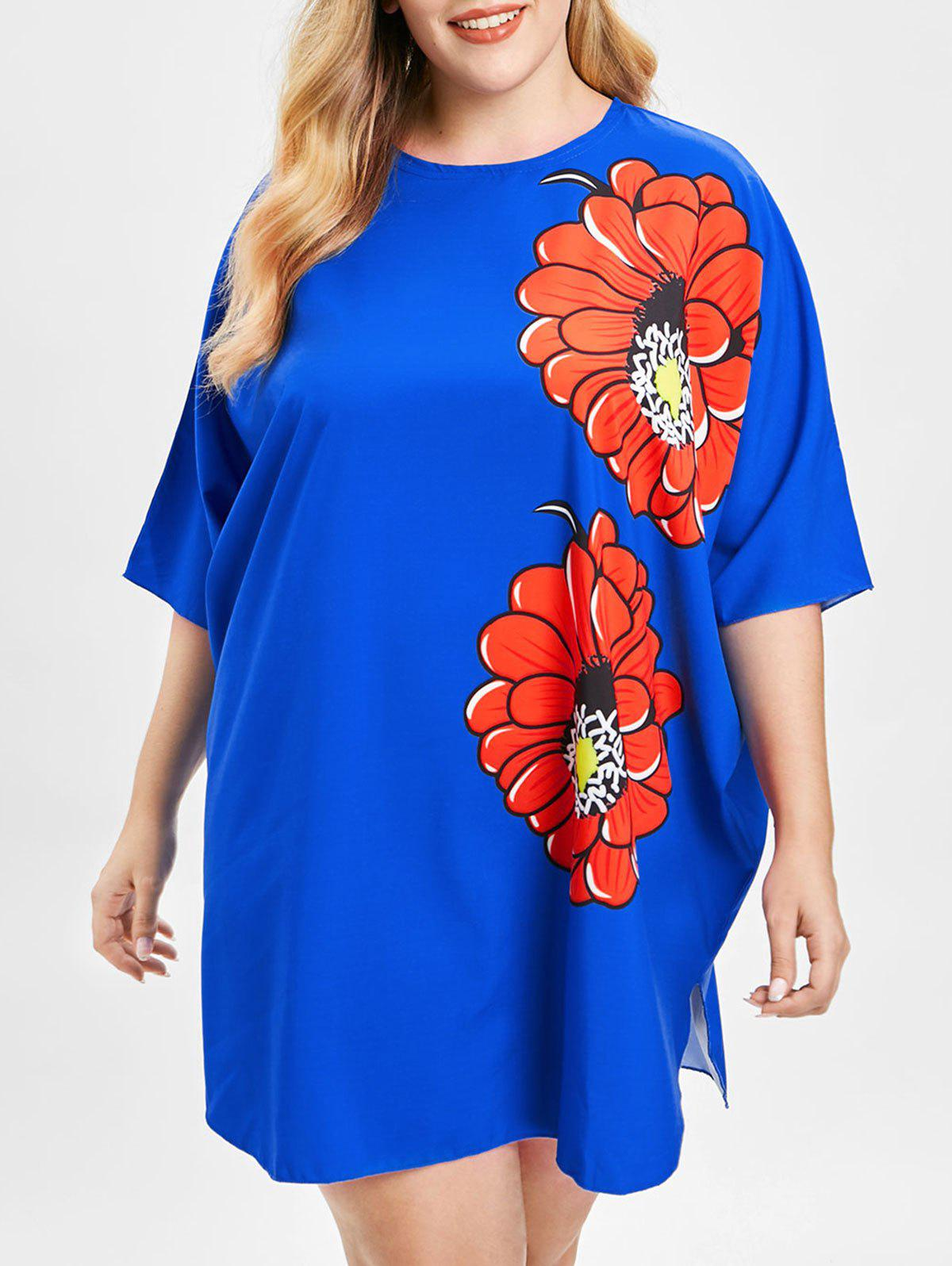 Plus Size Batwing Sleeve Floral Print Dress - BLUE L