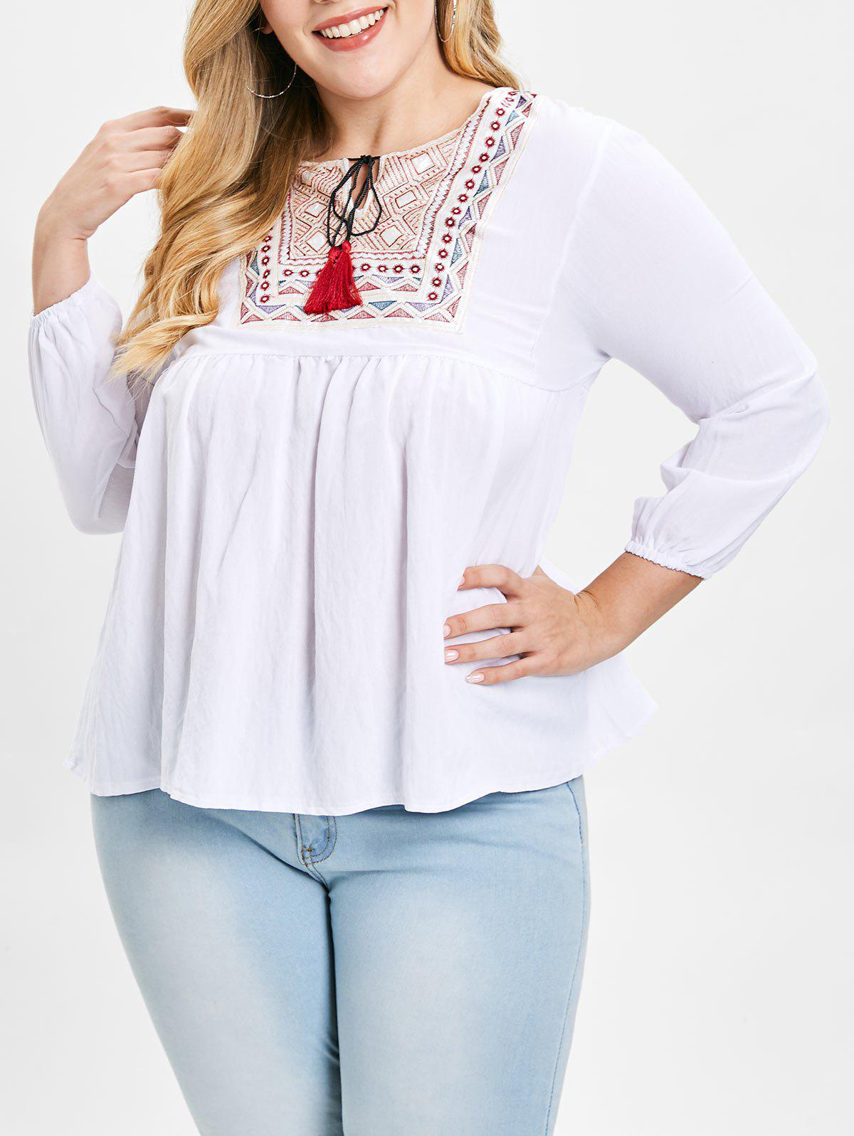 Plus Size Embroidered Tassels Blouse - WHITE 1X