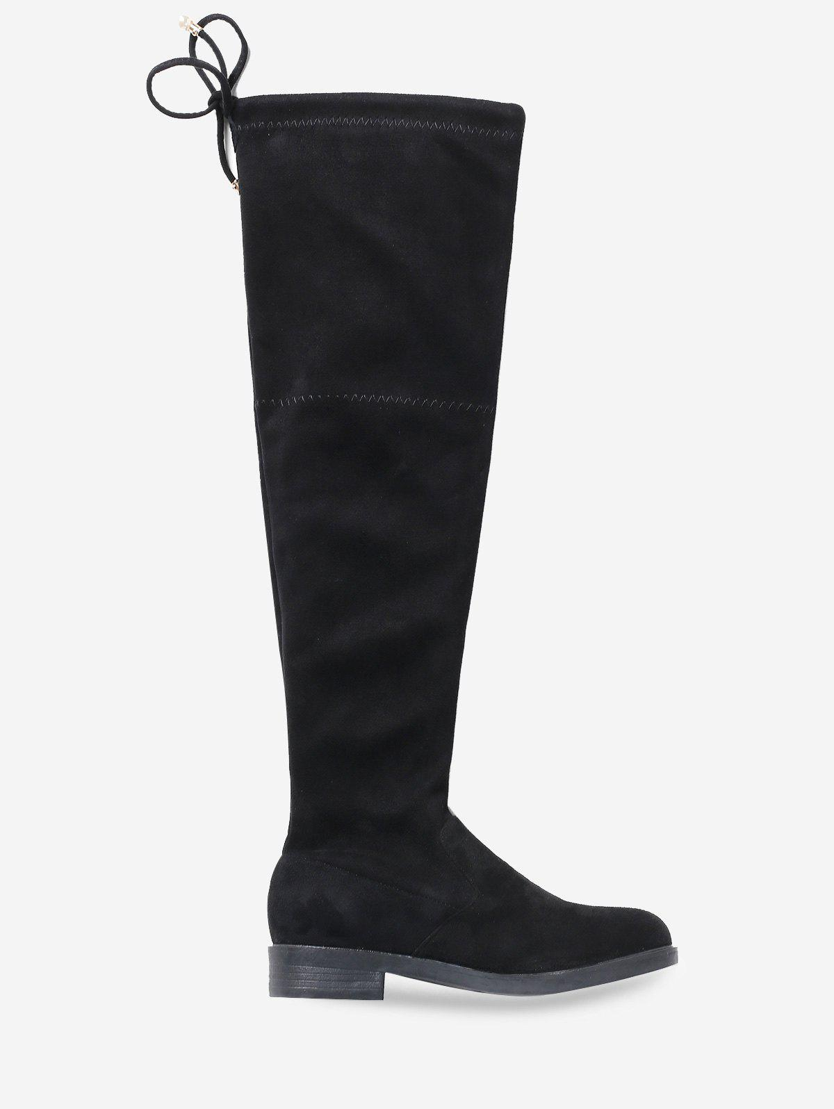 Chunky Heel Suede Tie Back Thigh High Boots - BLACK EU 40