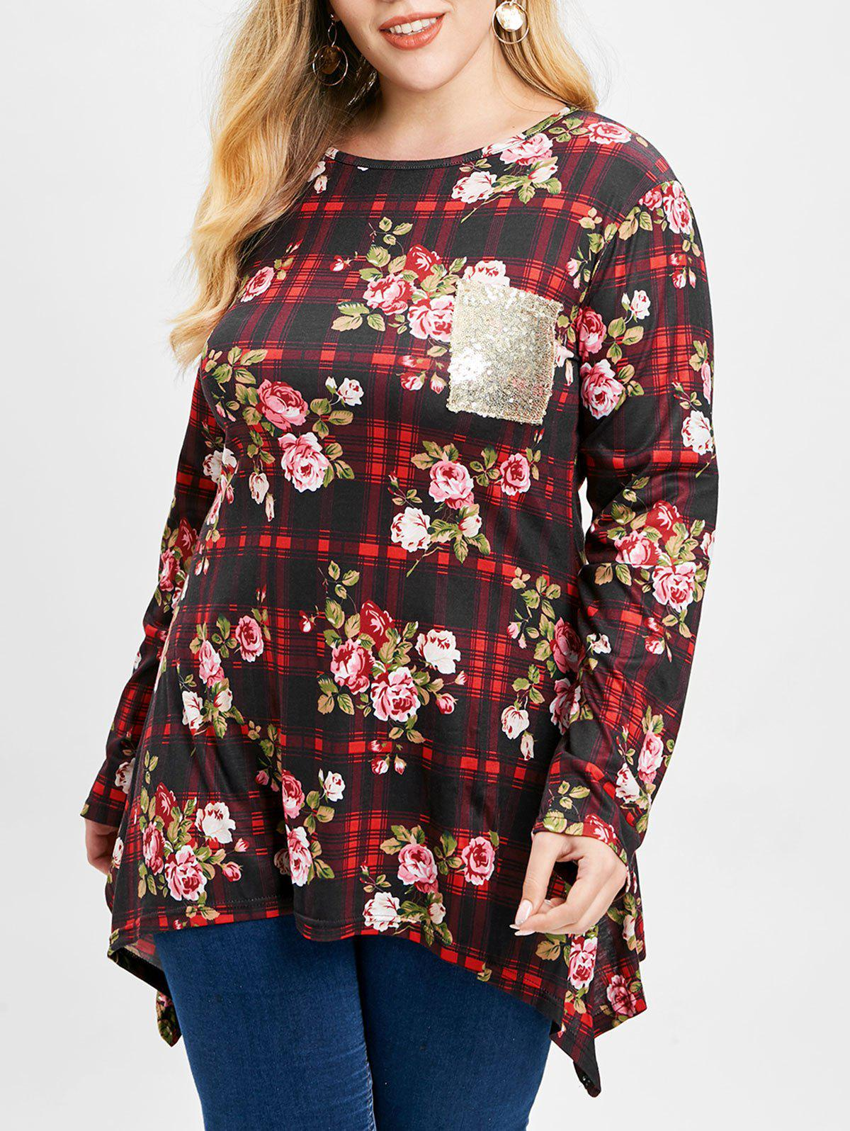 Plus Size Floral Print Plaid T-shirt - multicolor 3X