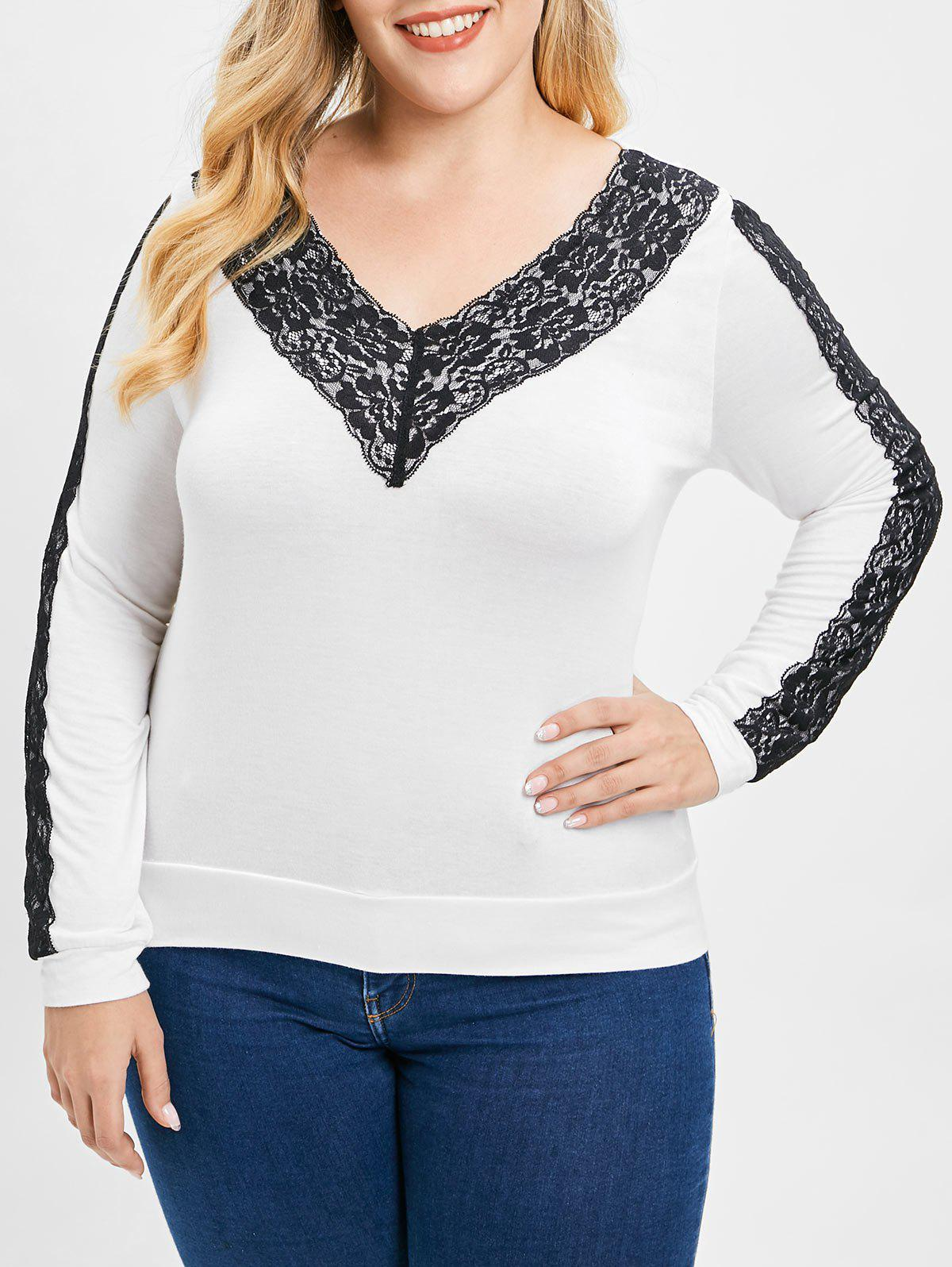Plus Size V Neck Lac
