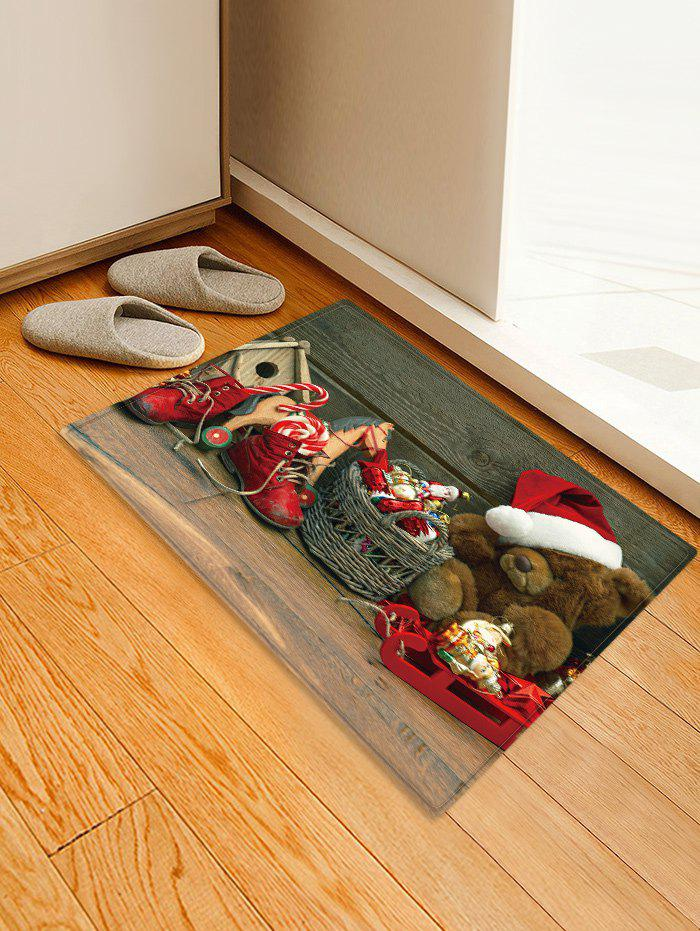 Christmas Toys Pattern Anti-skid Water Absorption Area Rug - multicolor W16 X L24 INCH