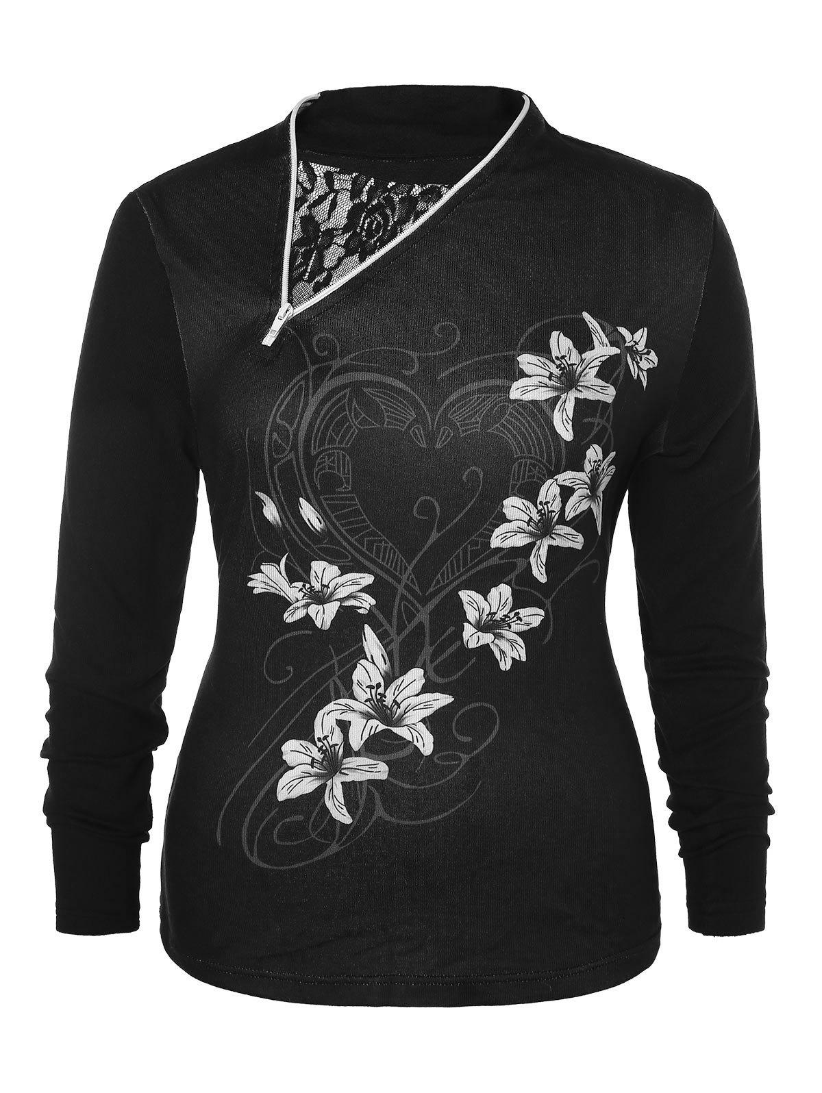 Plus Size Floral Print Zippered T-shirt - BLACK L