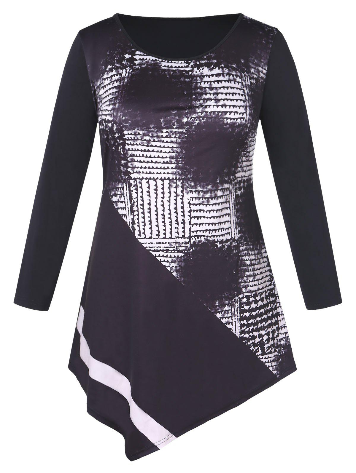 Plus Size Printed Asymmetrical Mini Dress - BLACK 5X