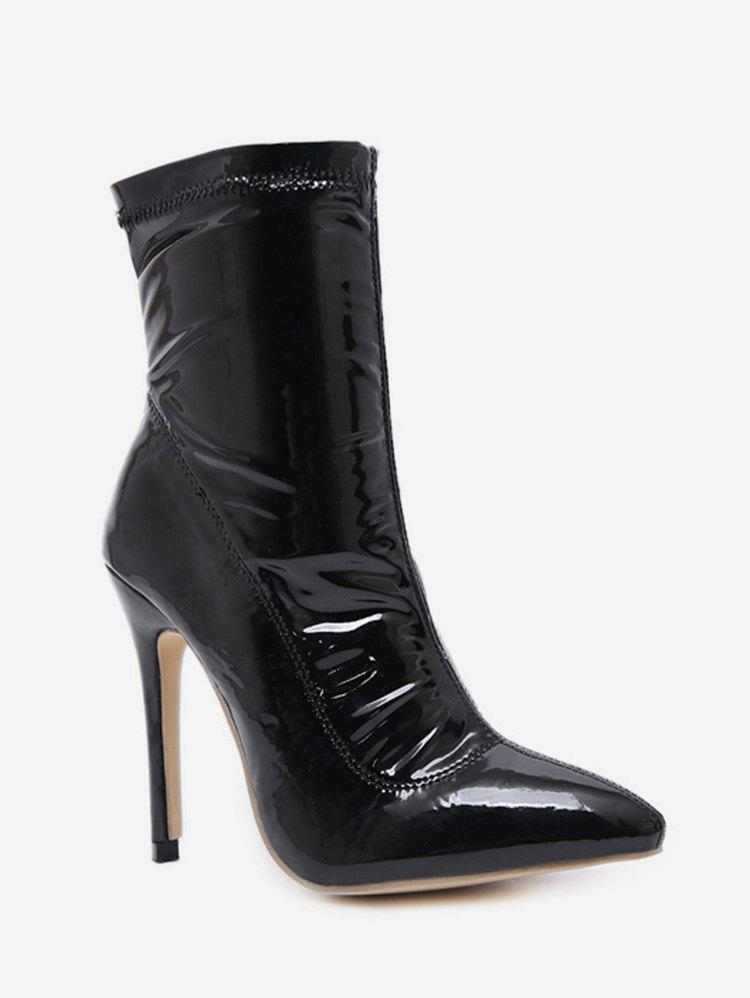 Patent Leather Stiletto High Heel Boots - BLACK EU 35