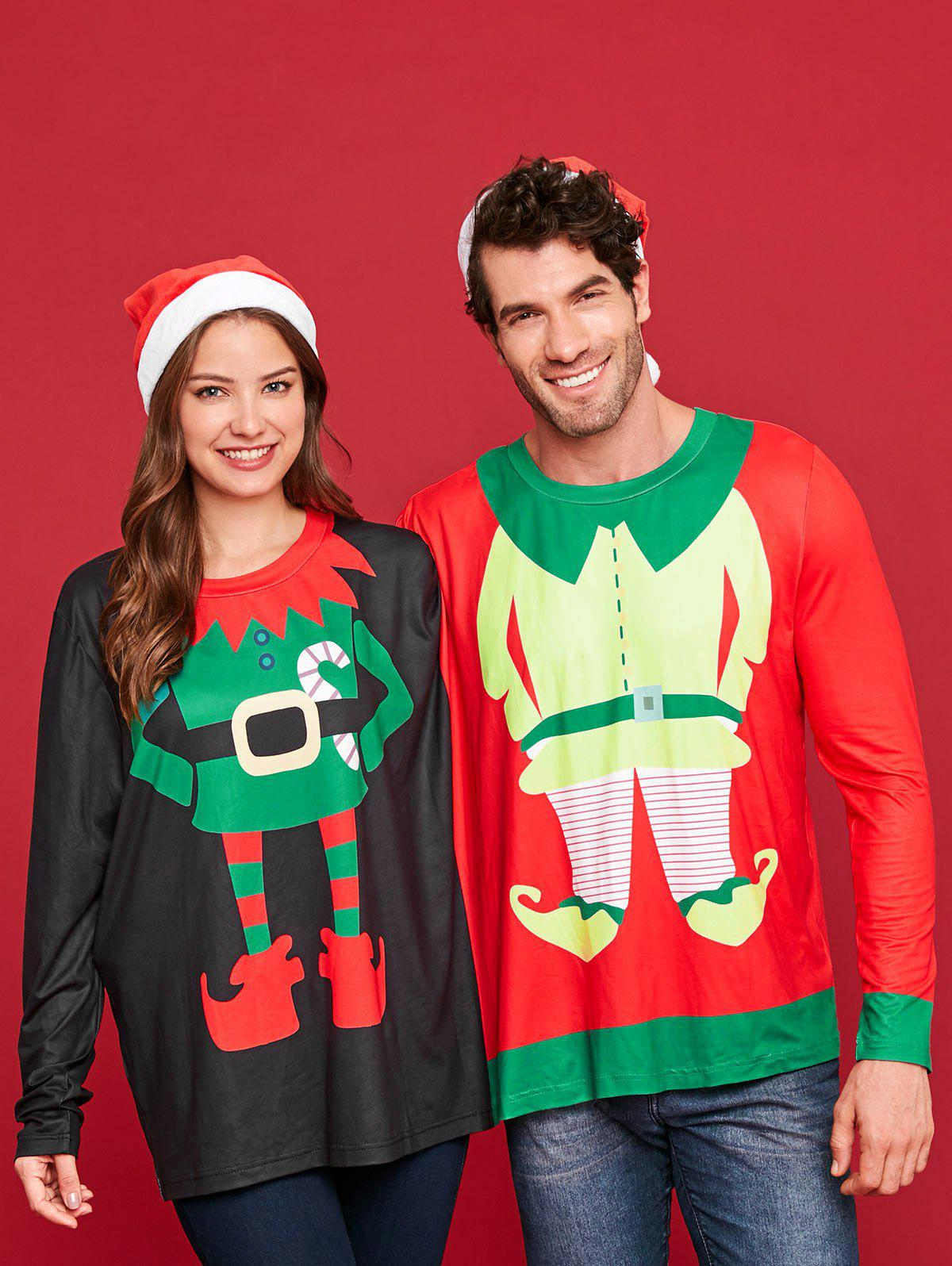 Two Person Ugly Christmas Sweatshirt Santa Pajamas - multicolor XL