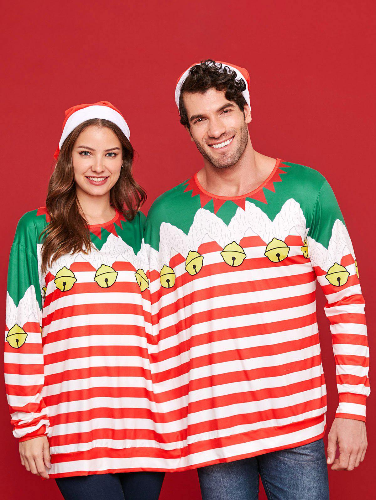 Two Person Long Sleeve Christmas Stripe T-shirt Pajamas - multicolor 2XL
