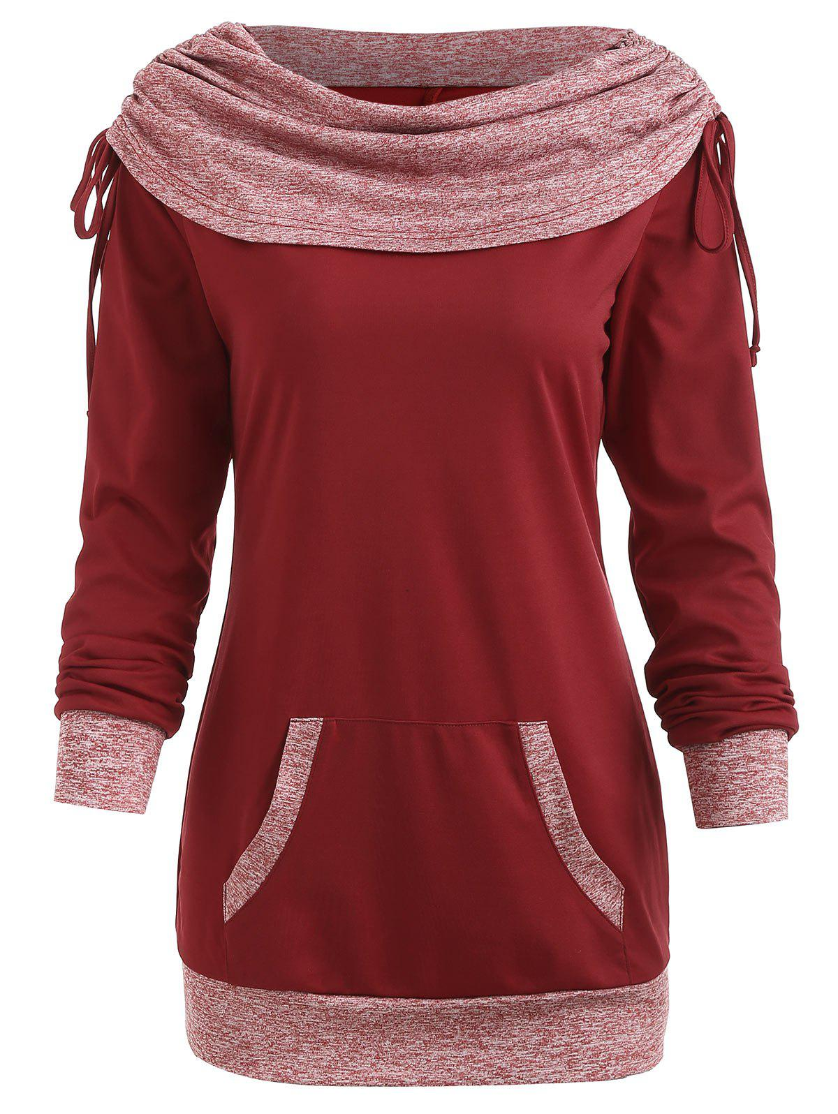 Drawstring Ruched Contrast Sweatshirt - RED WINE M
