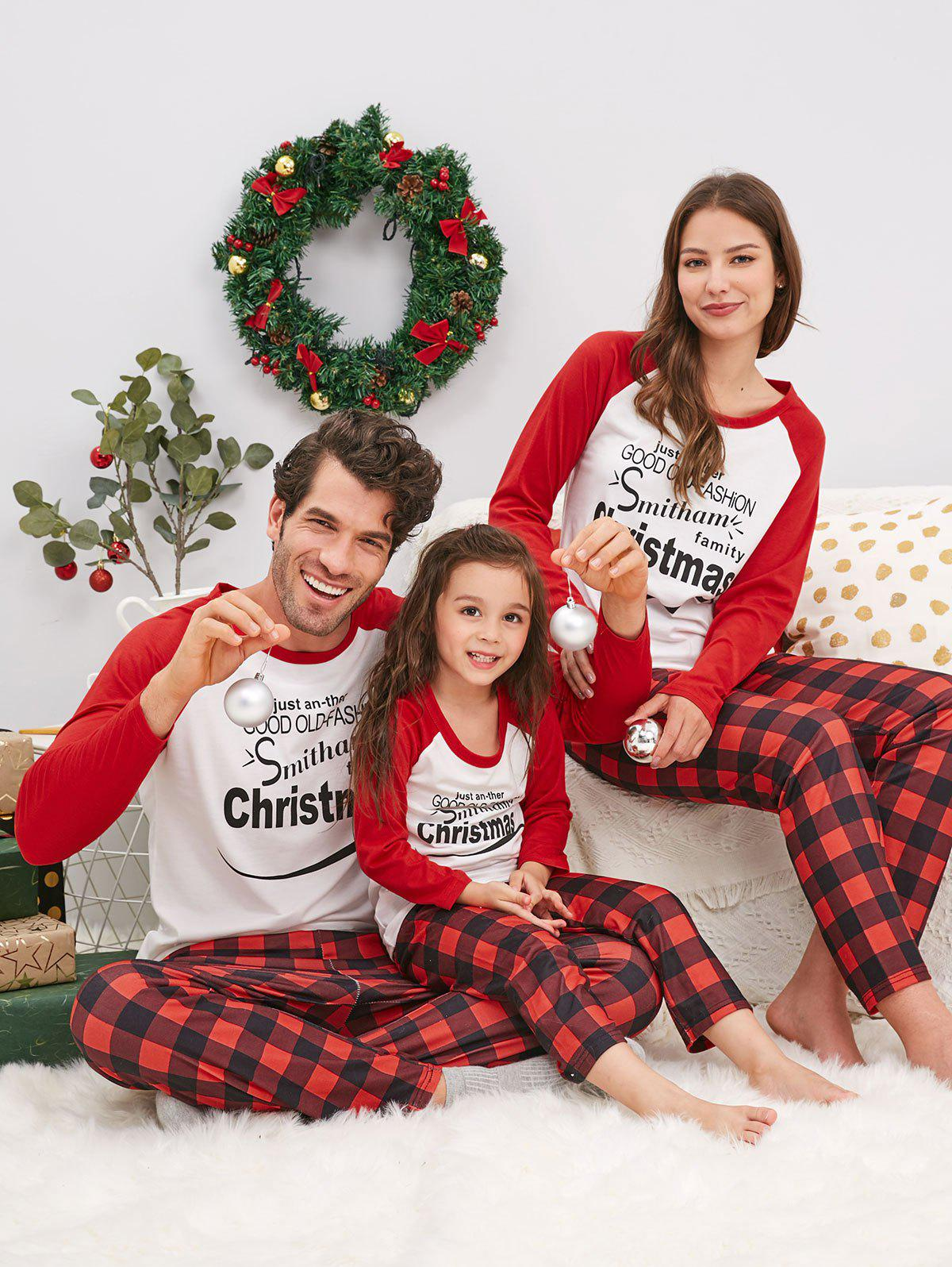 Christmas Letter Matching Family Pajamas - VALENTINE RED KID  110