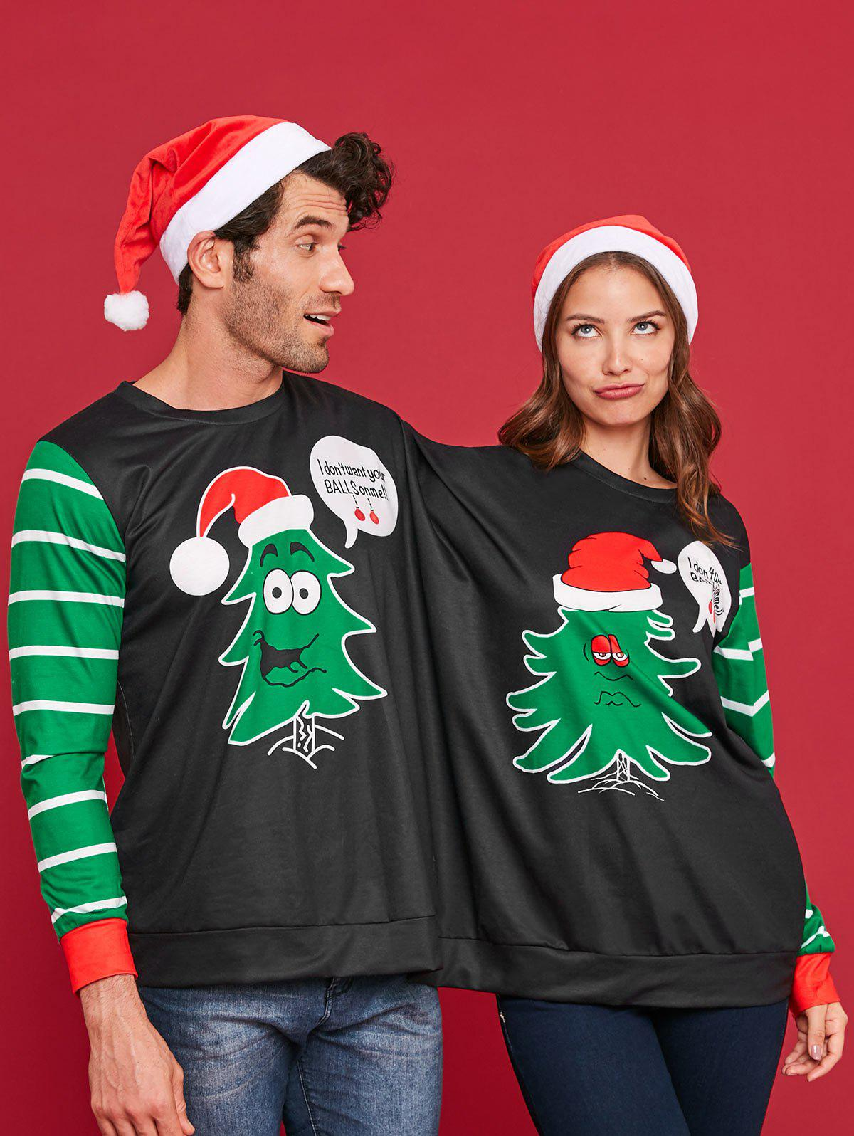 Christmas Tree Print Two Person Sweatshirt Pajamas фото