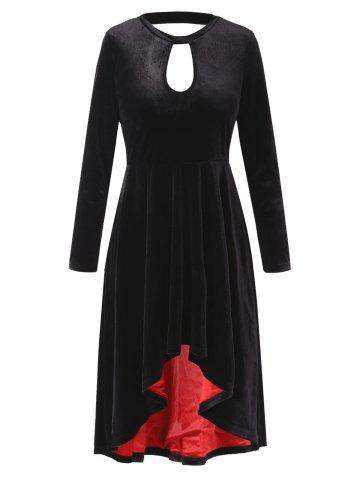 Long Sleeve High Low Velvet Dress